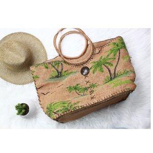 Cappelli large Straw wicker beach tote bag purse